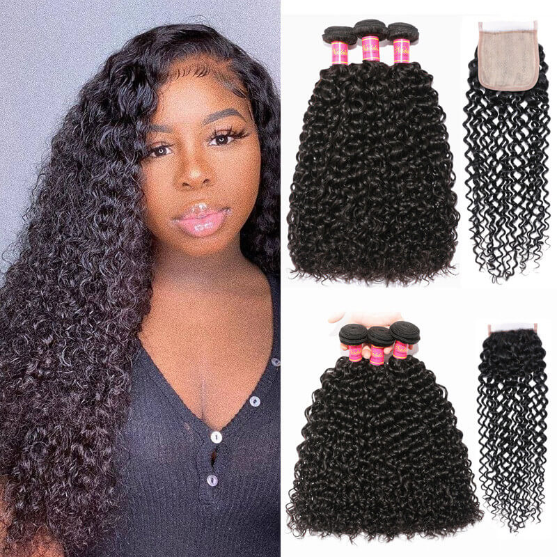 Nadula Jerry Curly Virgin Hair 3 Bundles With A 4x4 Fake Scalp PU Closure