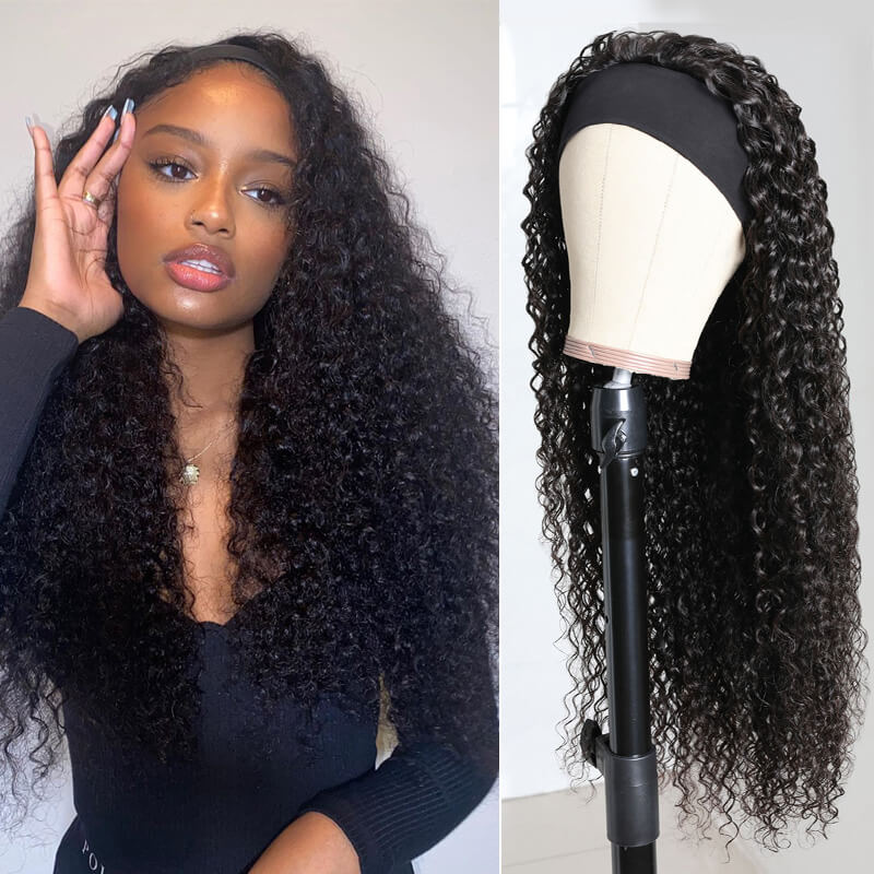 Nadula Jerry Curly Wig Headband Wig Glueless Wig 150% Density Human Hair Wigs Natural Looking