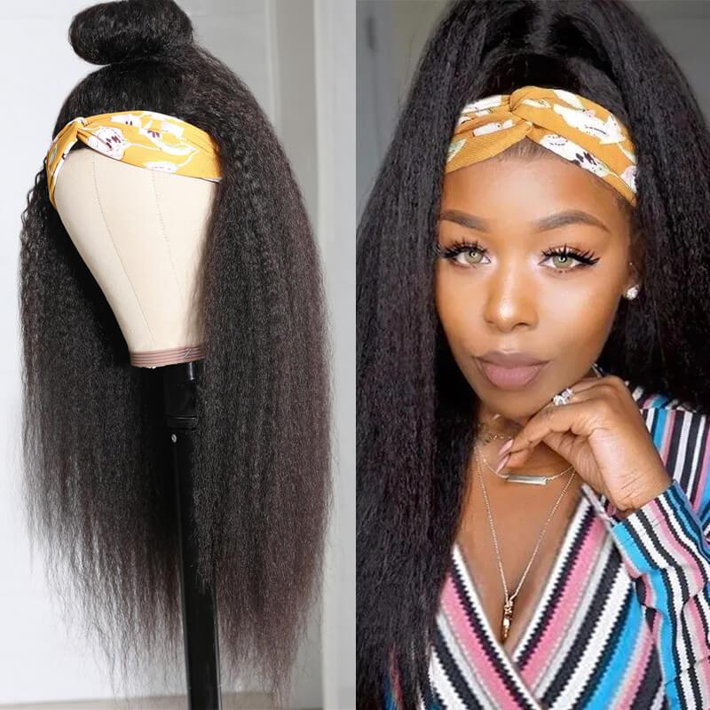 Nadula Kinky Straight Human Hair Half Wig Wand Curls Headband Half Wig Glueless Wig