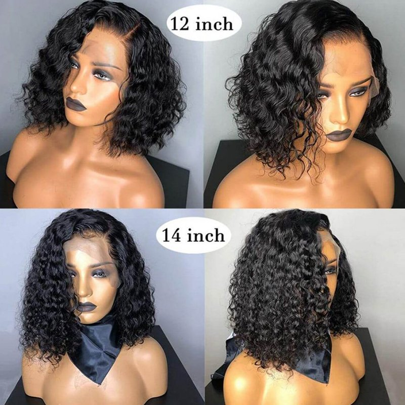 Nadula High Quality Water Wave 150% Density Wig Short Bob Wig Lace Front Wig Human Hair