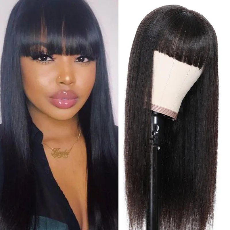 straight hair wig lace wig with bang