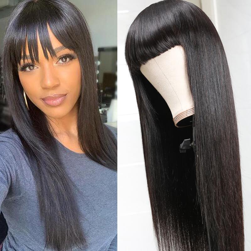 Nadula Natural Long Silky Straight Wig With Bangs