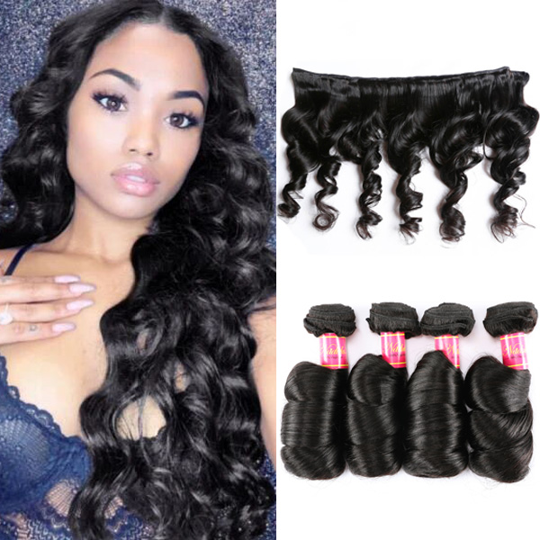 Nadula Quality Brazilian Virgin Hair Loose Wave Unprocessed Brazilian Hair Weave 4 Bundles