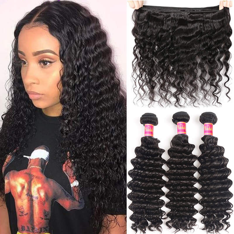 Nadula Quality Virgin Brazilian Deep Wave Hair 3 Bundles