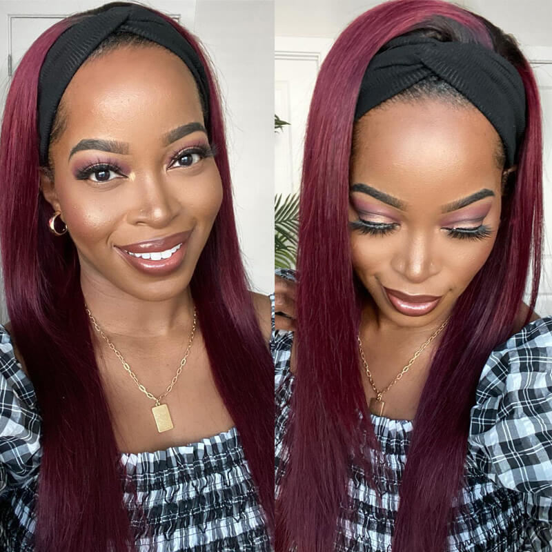 Nadula Straight 99J Burgundy Color Headband Half Wig