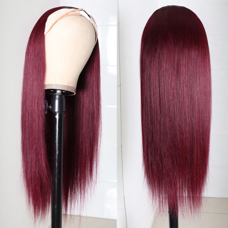 Nadula Straight 99J Burgundy Color Headband Half Wig Black Root Headband Wig More Natural Between Wig and Natural Hair