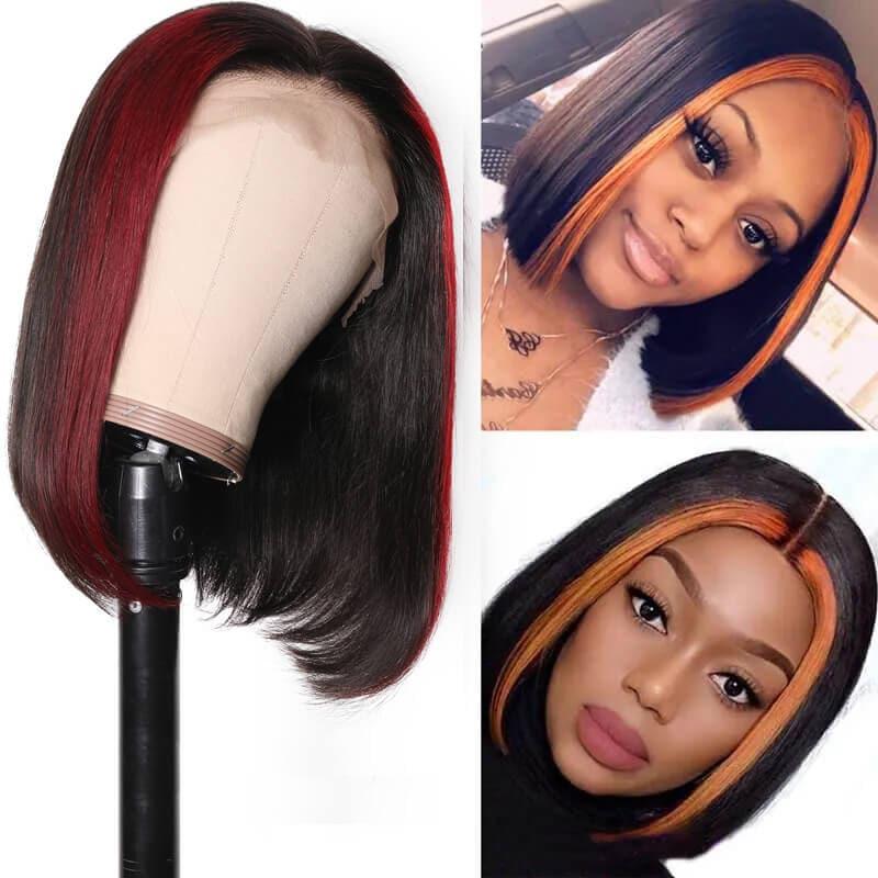 Nadula Straight Hair 13x4 Lace Front Wig Highlights Auburn Wig Burgundy Wig