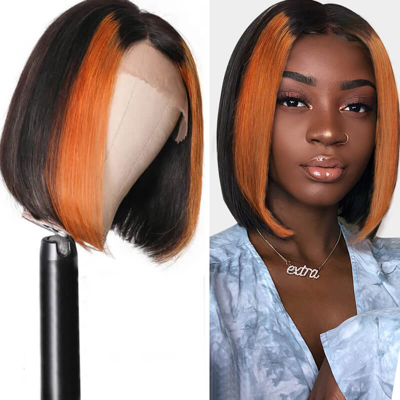 Nadula Straight Hair 13x4 Lace Front Wig Highlights Auburn Wig Burgundy Wig Human Hair Pre Plucked Natural Hairline 150% Density