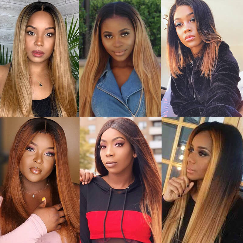 Nadula Affordable Straight Ombre Hair Weave 3 Tone Color