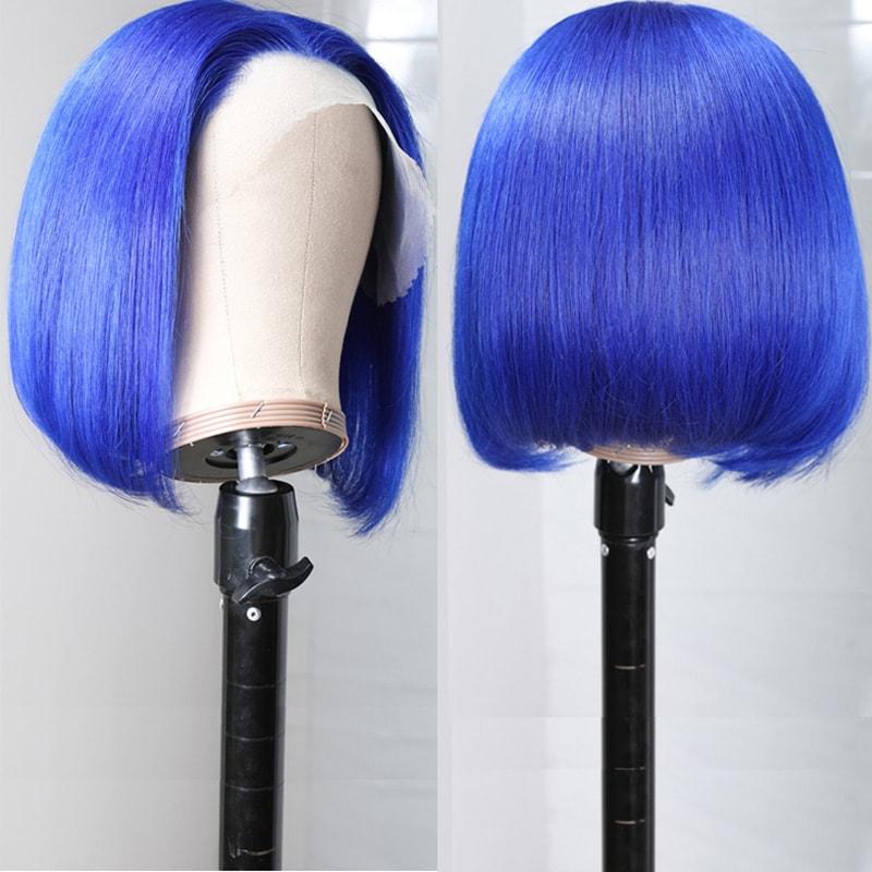 Nadula Straight Short Bob Wig 13×4 Lace Wig Blue Colored 150% Density Wig With Bang Human Hair Super Soft