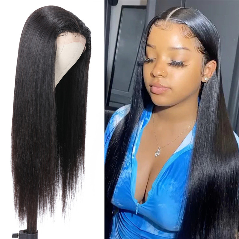 Nadula T Part Lace Wig Straight Human Hair Middle Part Lace Wig