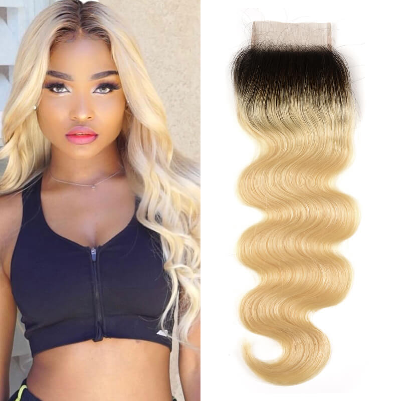 Nadula Virgin Hair 1B/613 Blonde Ombre Human Hair Body Weave Free Part 4*4 Lace Closures