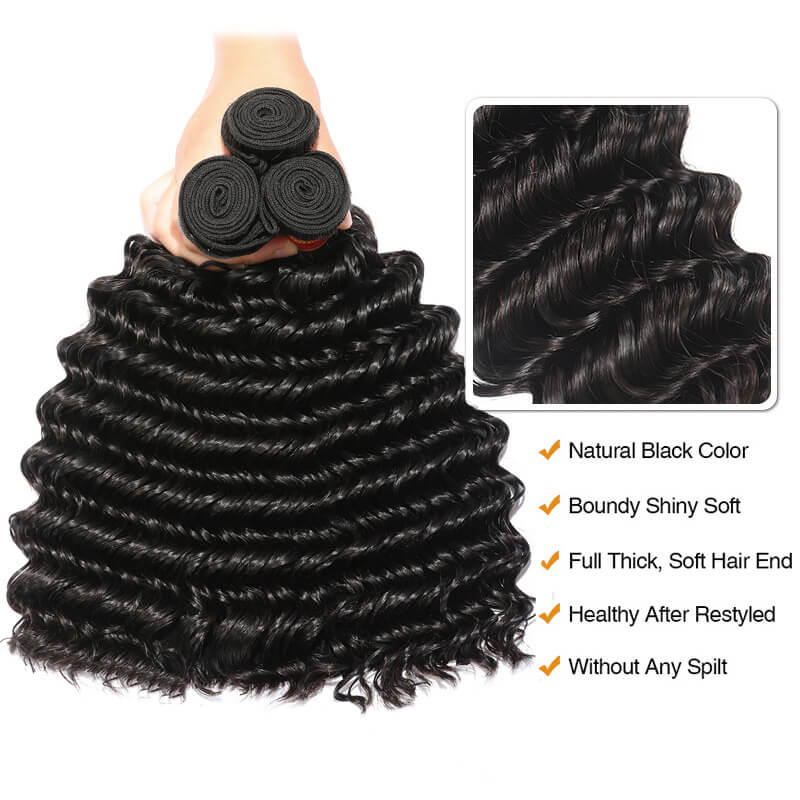 Nadula Virgin Indian Hair 3 Bundles Deep Wave Natural Black Virgin
