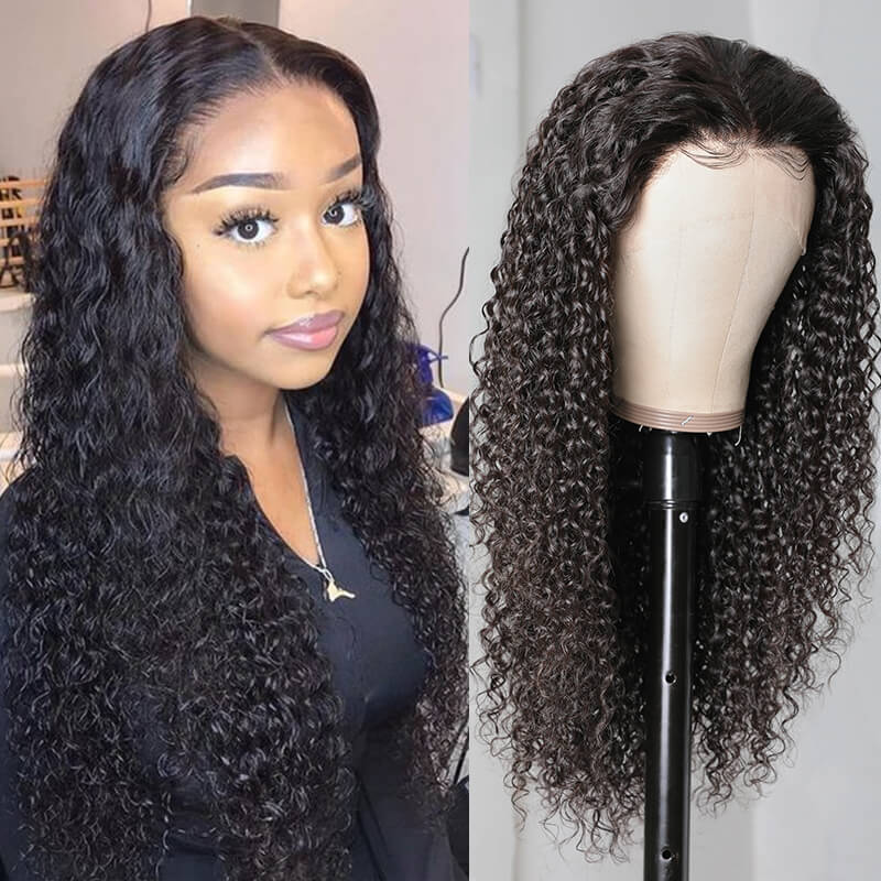 Natural Long Jerry Curly 13x4 Lace Front Wigs