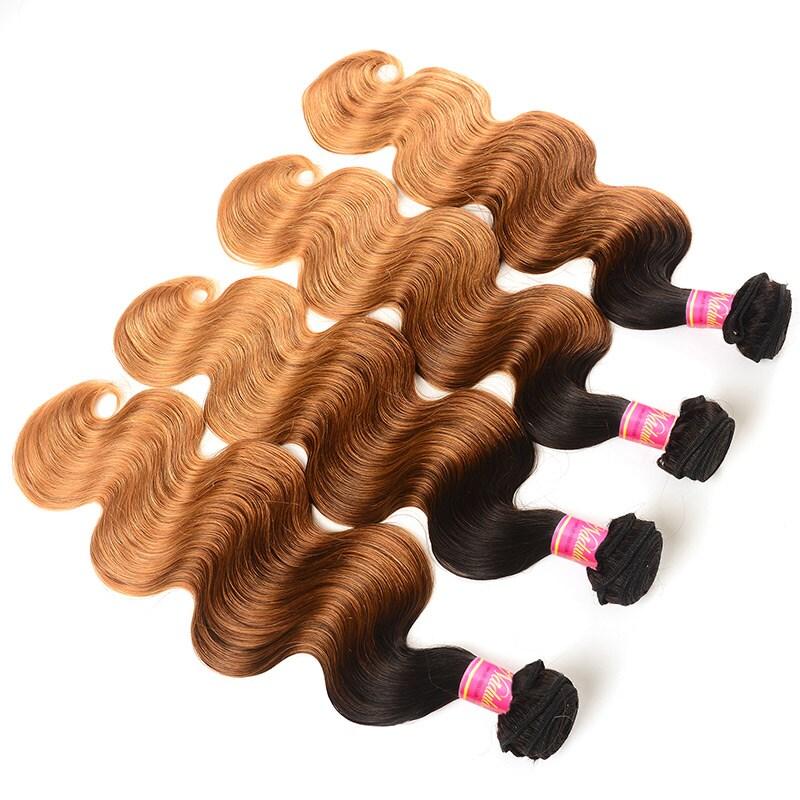 Nadula 4 Bundles Brazilian Ombre Body Wave Human Virgin Hair with closure