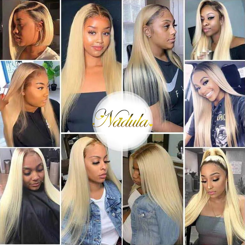Nadula Blonde Straight Wig 13x4 Lace Front Wig Dark Roots Blonde Ombre Color Natural Hairline 150% Density