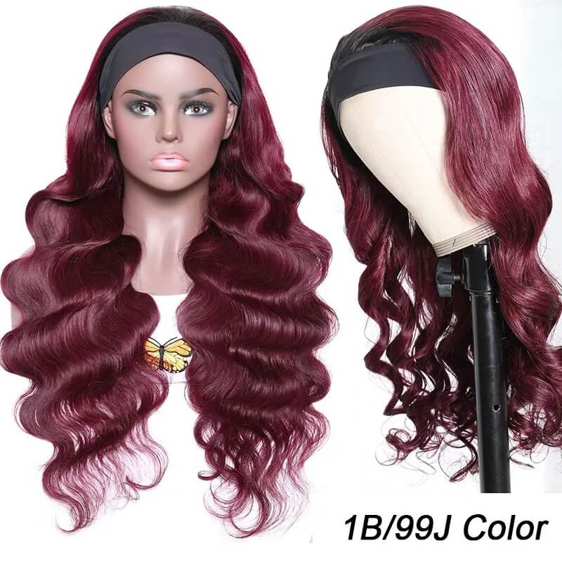 Nadula 99J Burgundy Color Headband Half Wig Black Root Headband Wig More Natural Between Wig and Natural Hair