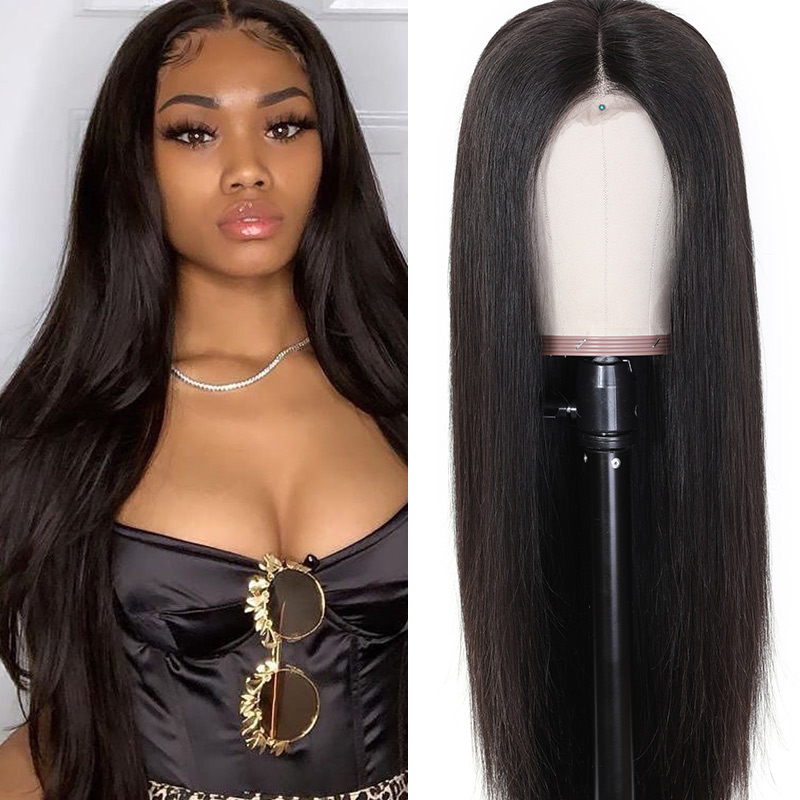 Nadula 4*4 Lace Closure Mid Part Human Hair Wigs Straight High Quality 180% Density Wigs