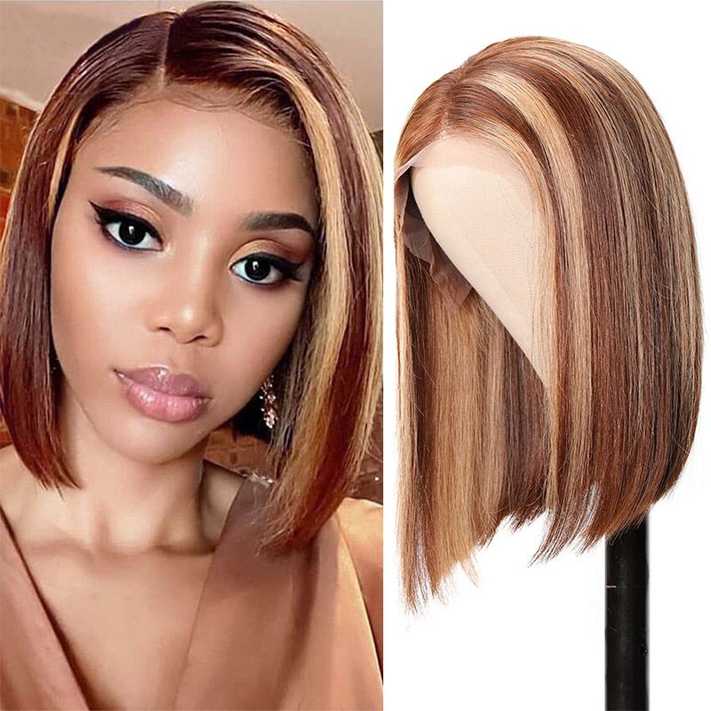 Highlight Straight Bob Wigs With Baby Hair