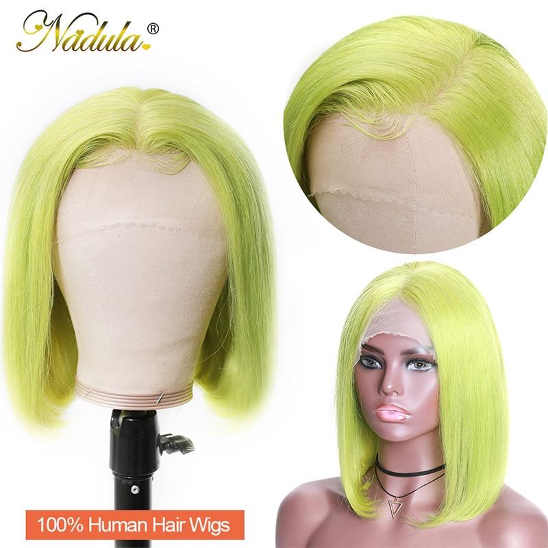 Nadula Green Wig Short Bob Lace Front Wigs 13x4 Remy Human Hair 150% Density Hot Wigs