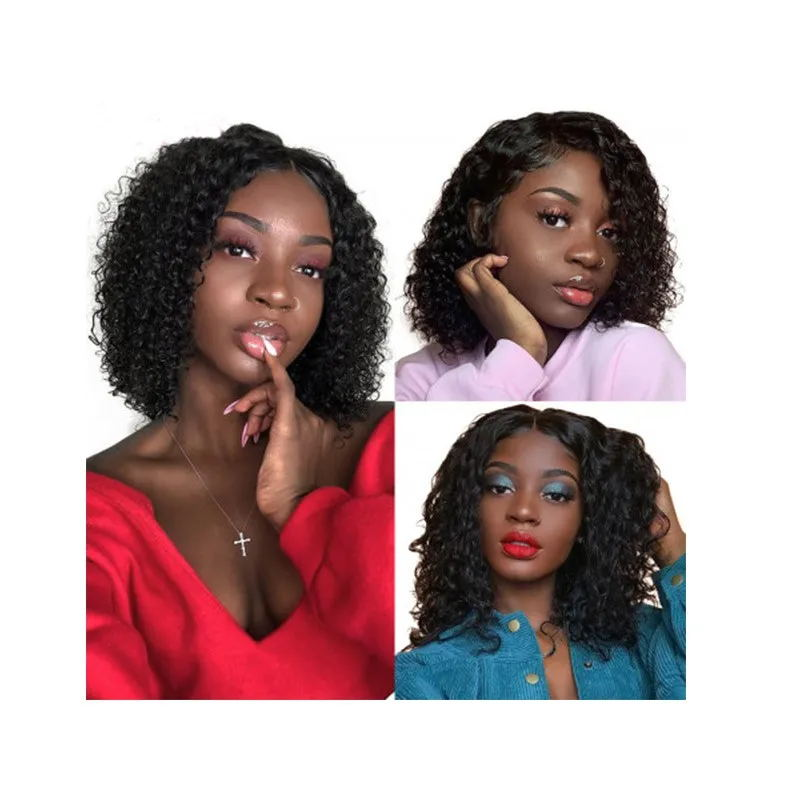 Nadula Short Bob Wig Curly Lace Wig 150% Density Wig 100% Human Hair Pre-plucked Natural Hairline