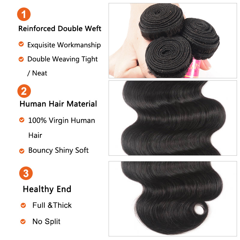 Nadula 3 Bundles Body Wave Virgin Hair Weave