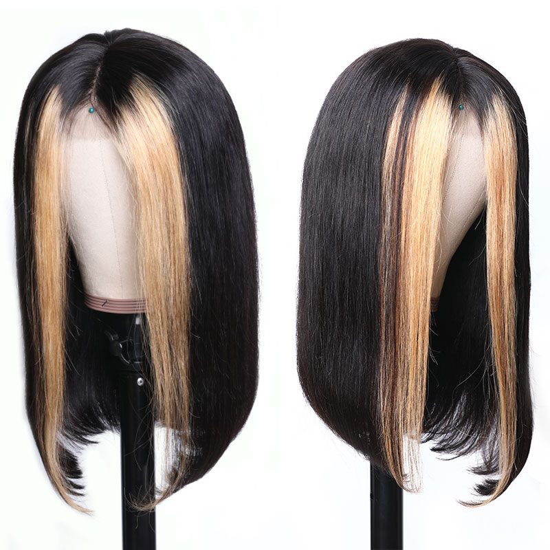 Nadula Lace Front Wig Straight Weave Highlights Color Strawberry Honey Blonde Wig