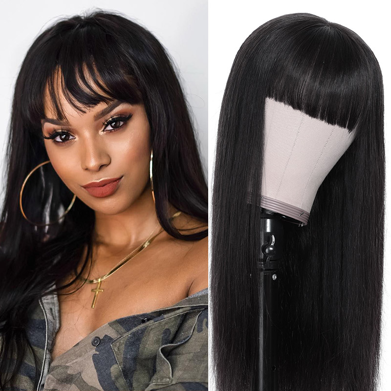 chic straight wig lace wig with bang
