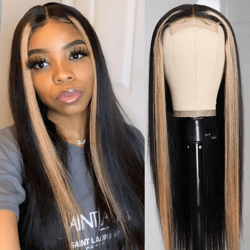 T Part Lace Wig Straight Strawberry Honey Blonde Highlight Wig