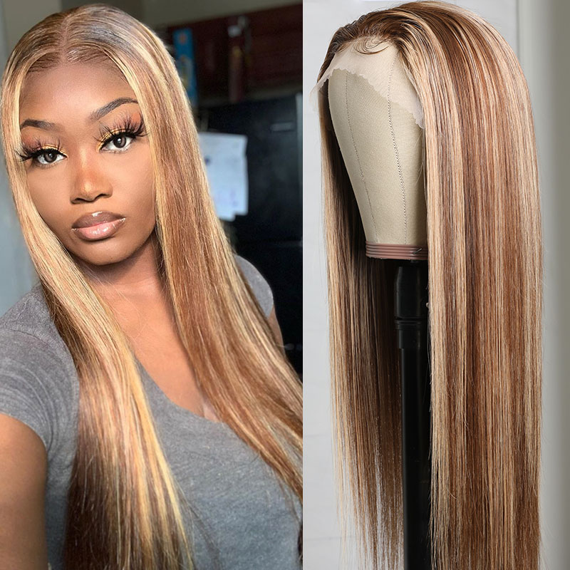 Three Part Highlight Straight Wigs With Baby Hair