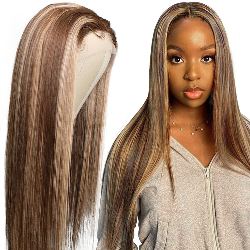 TL412 Brown Color Lace Wigs Three Part