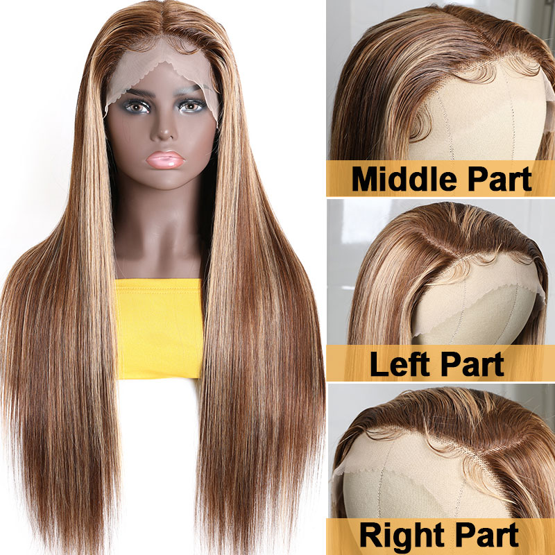 Long Straight Wigs Middle Part Side Part