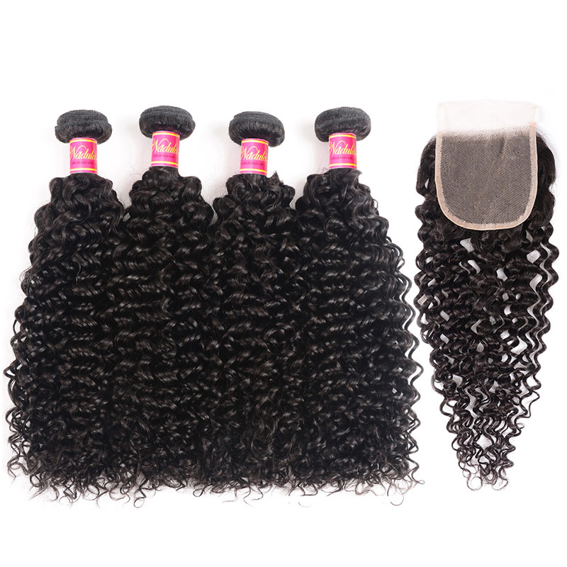 Nadula Jerry Curly Transparent Lace Frontal Closure With 4 Bundles Human Hair Weave
