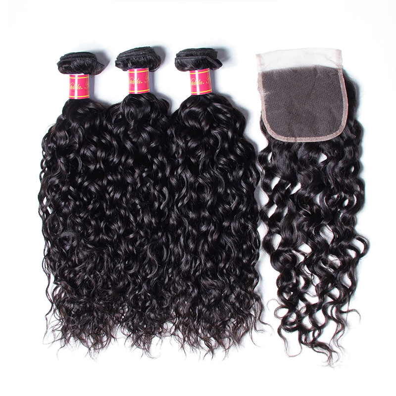 Nadula Good Quality Water Wave Virgin Hair Weave 3 Bundles With Lace Closure