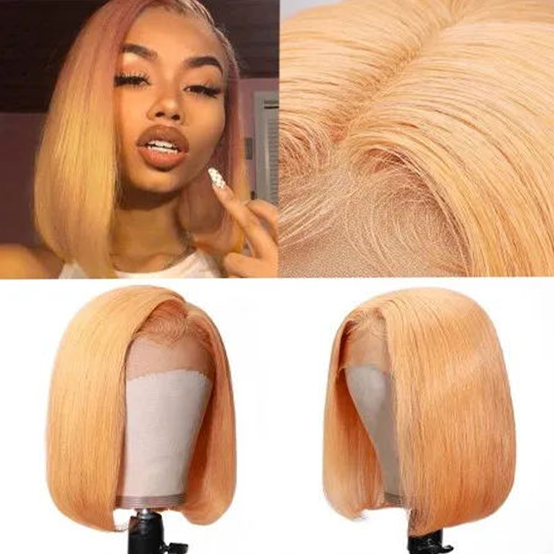 Nadula Orange Wig With Baby Hair Lace Front Wig Straight Bob Lace Wig Yellow Color Remy Hair 150% Density