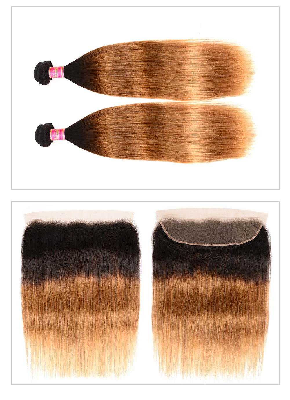 Ombre T1B/4/27 Colored Hair 3 Bundles