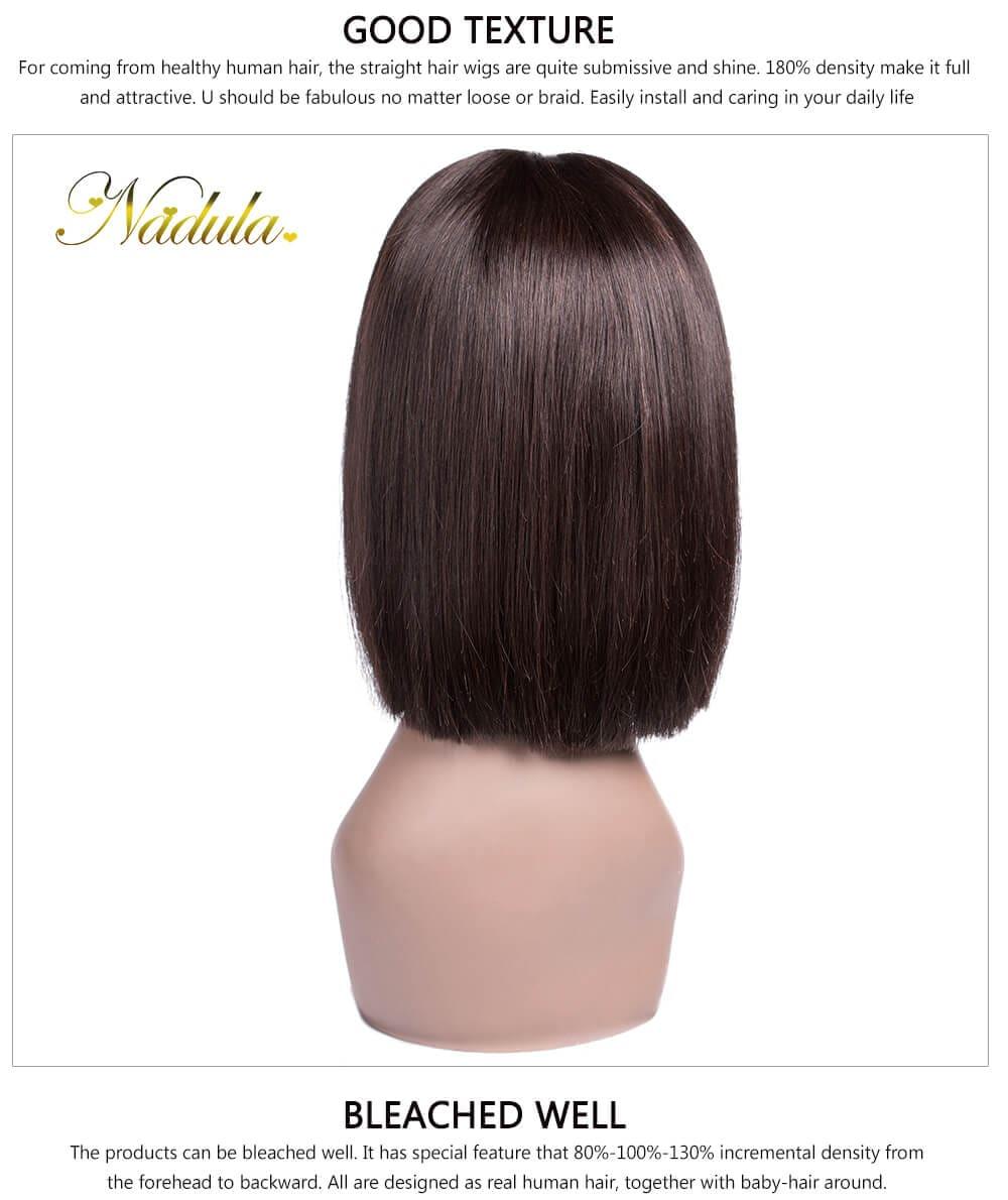 Nadula Short Straight Bob Wig 100 Human Hair Pre Plucked With Baby
