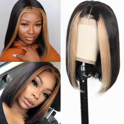 blonde highlight wig bob