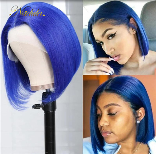 Blue bob wigs lace front style