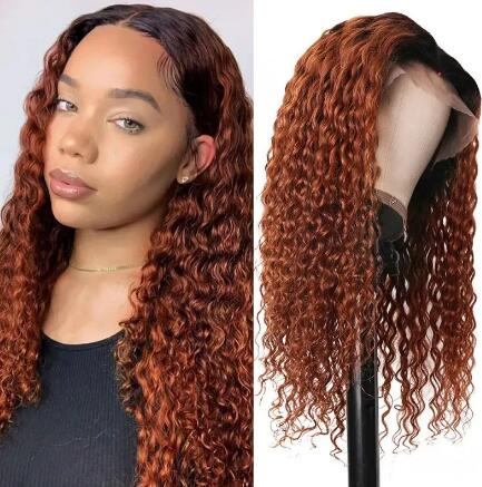 auburn curly lace front wig