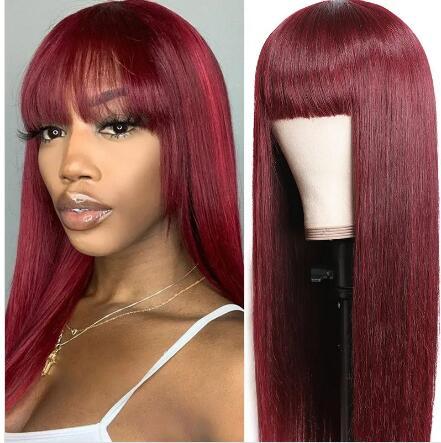 straight burgundy wig