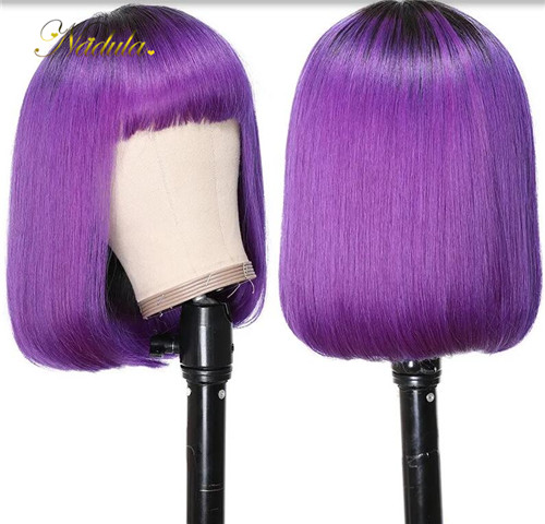purple lace front BOB wig