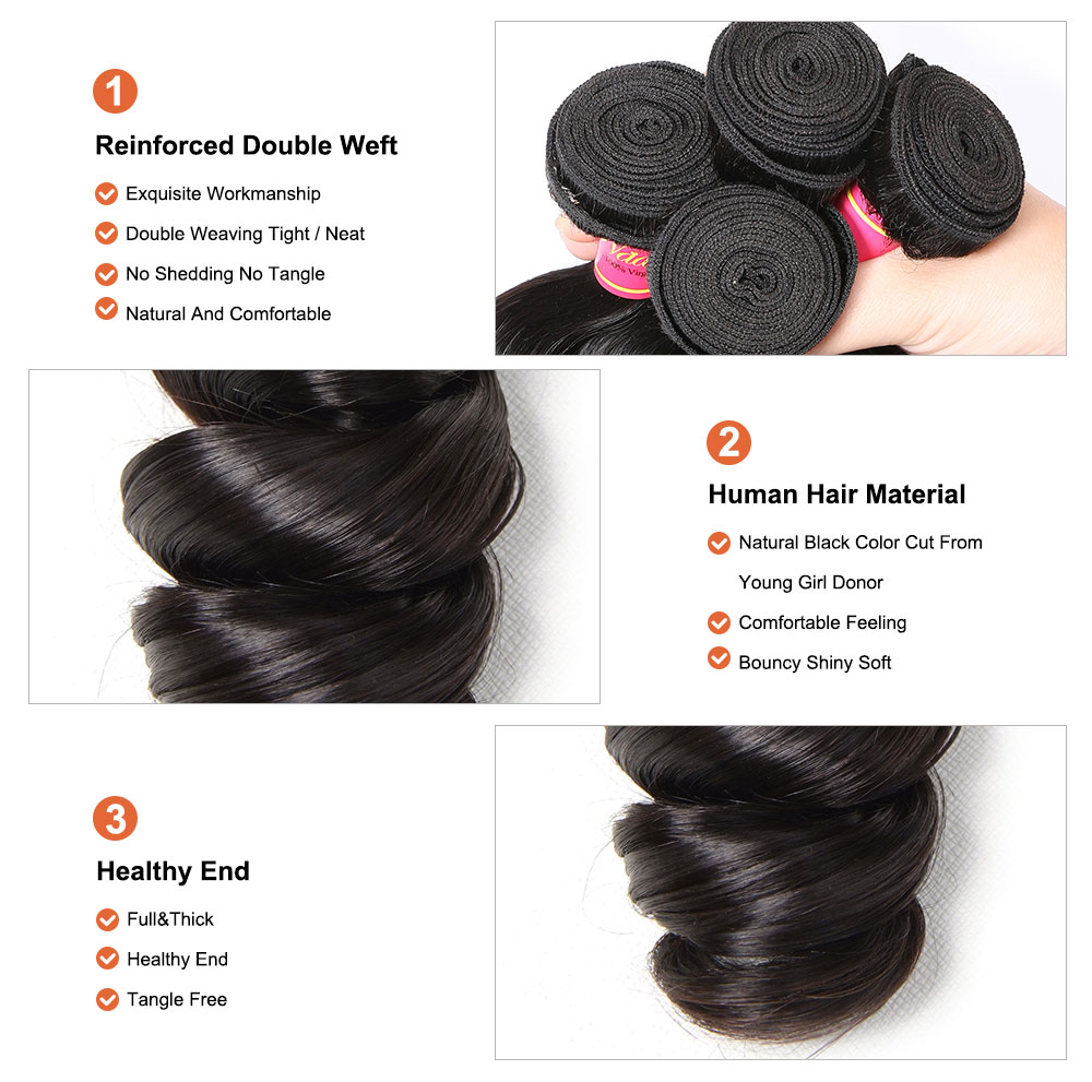Loose Wave Hair Brazilian Human Hair Weave