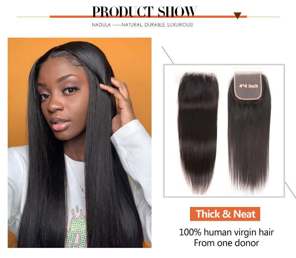 Nadula Transparent 4*4 Lace Closure Straight Free Part 100% Virgin Human Hair