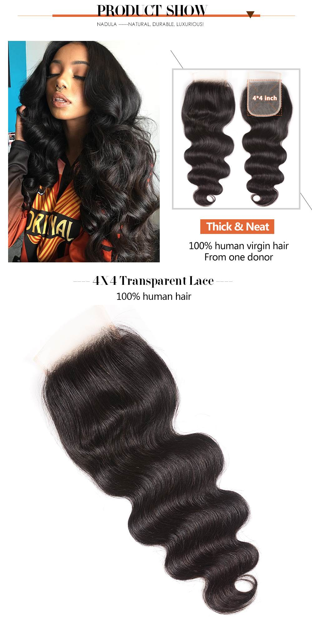 Transparent Lace Closure Body Wave Virgin Hair Weave