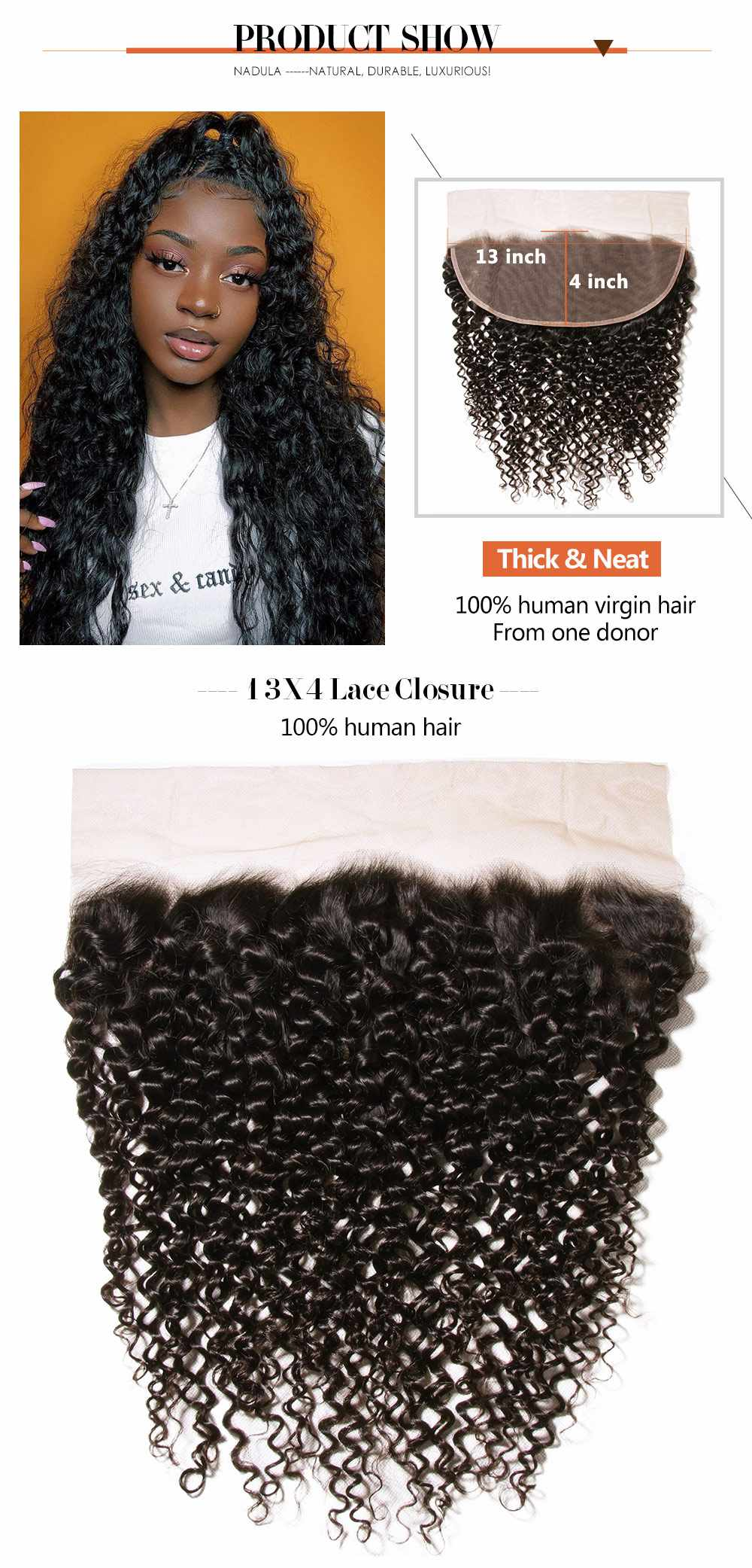 Curly Hair 13x4 Lace Frontal Closure