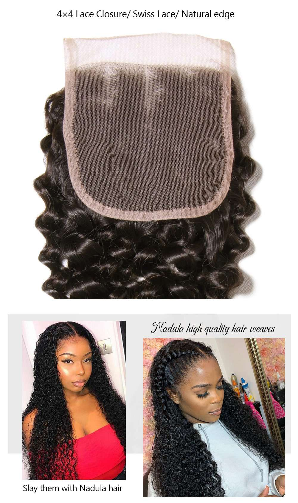 Lace Closure Curly 100% Virgin Human Hair