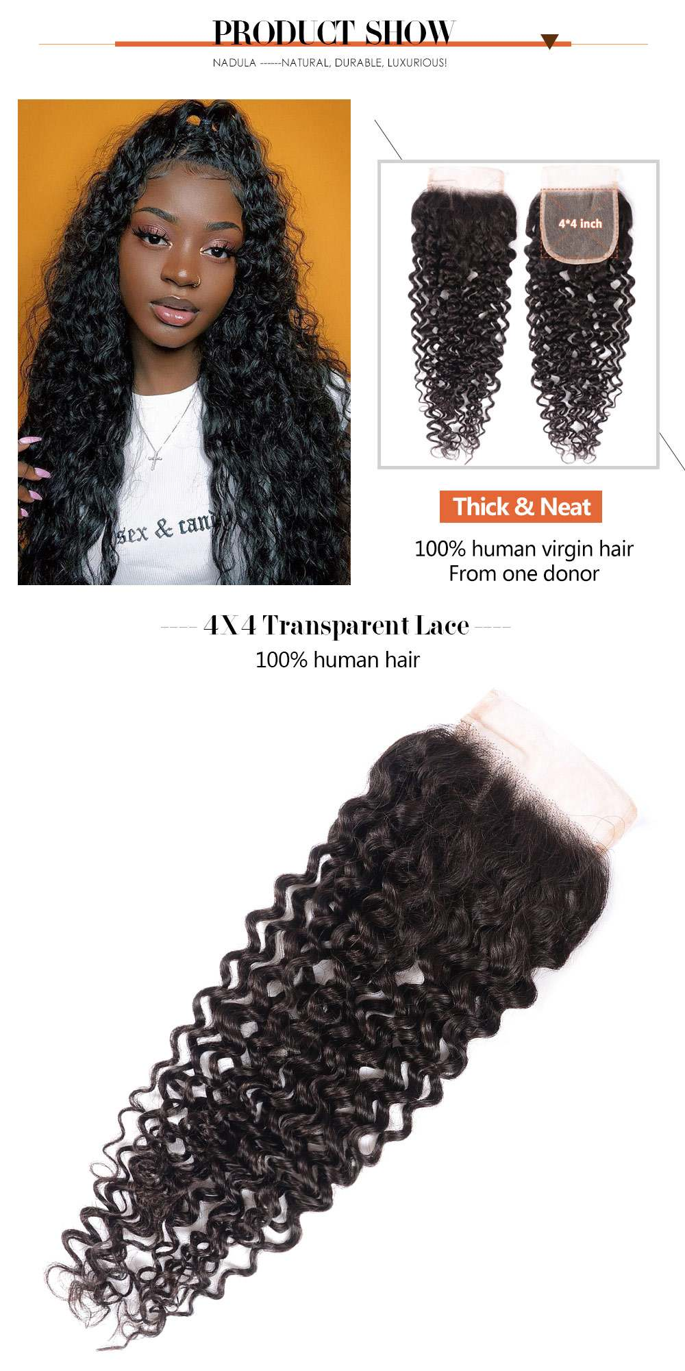 4X4 Transparent Lace Closure Jerry Curly Hair Human Hair