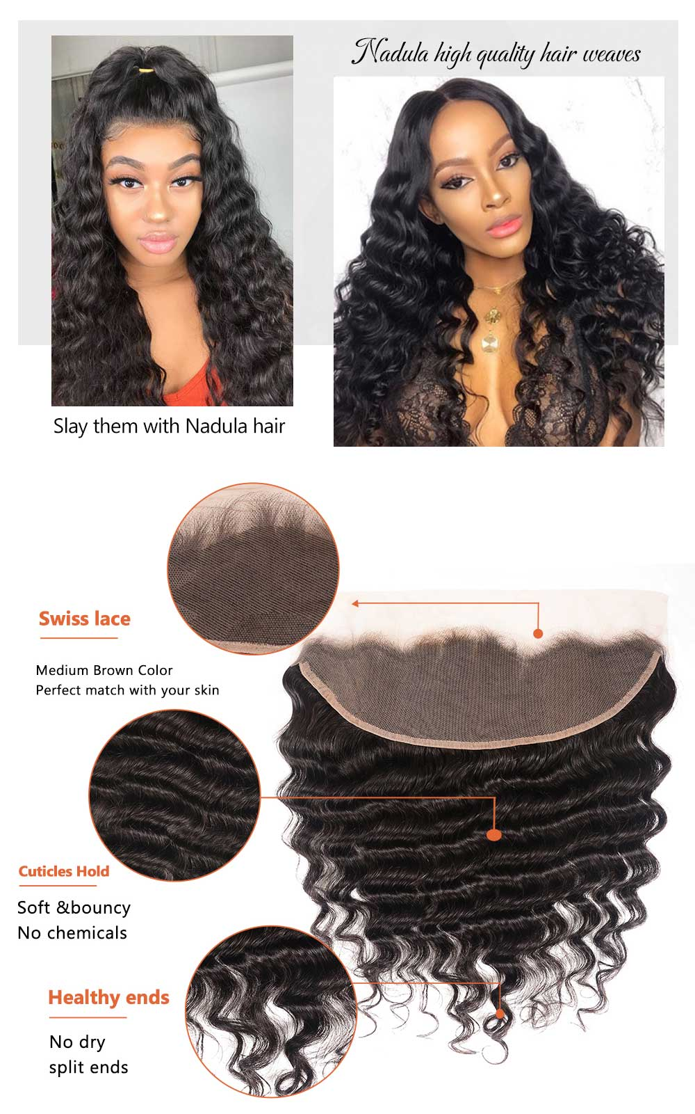 Loose Deep Wave Virgin Hair Lace Frontal