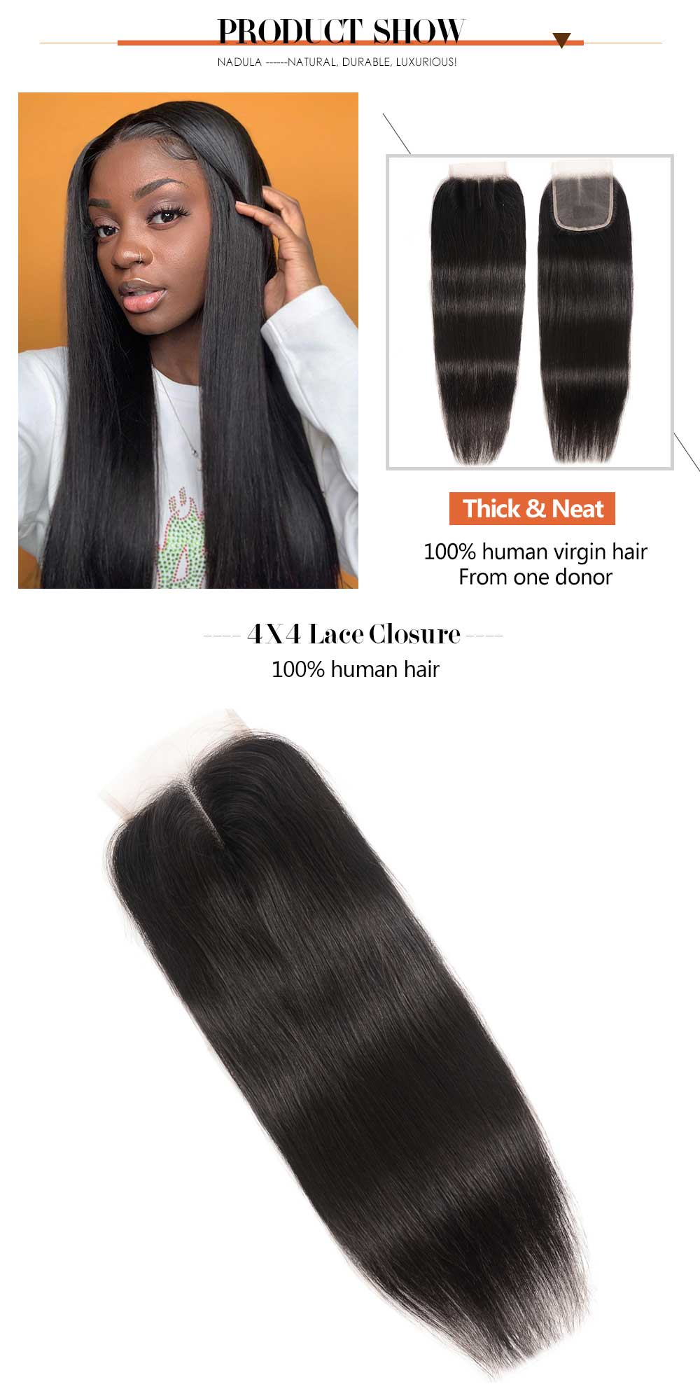 Lace Closure Straight 100% Virgin Human Hair
